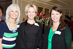 from left, Joyce DiCamillo; prospective member, Rebecca Leigh; and Stasha Healy